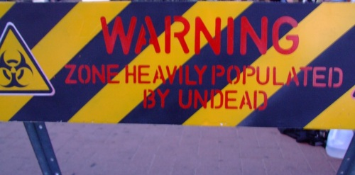 Warning Zone Heavily Populated by Undead
